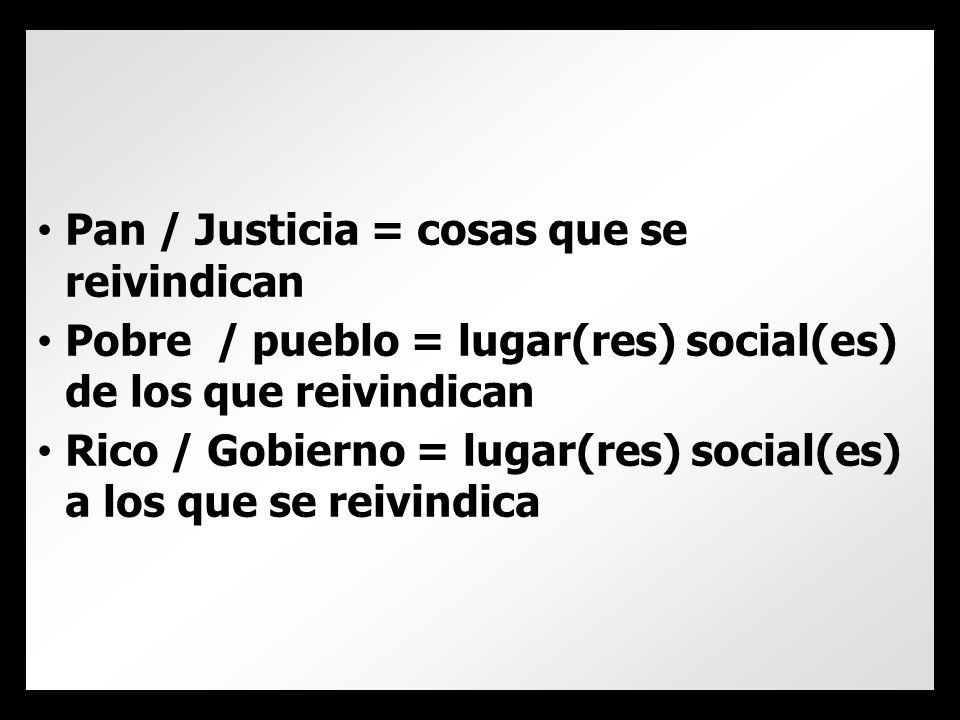 Pan / Justicia = cosas que se reivindican Pobre / pueblo = lugar(res) social(es) de los que reivindican Rico / Gobierno = lugar(res) social(es) a los que se reivindica