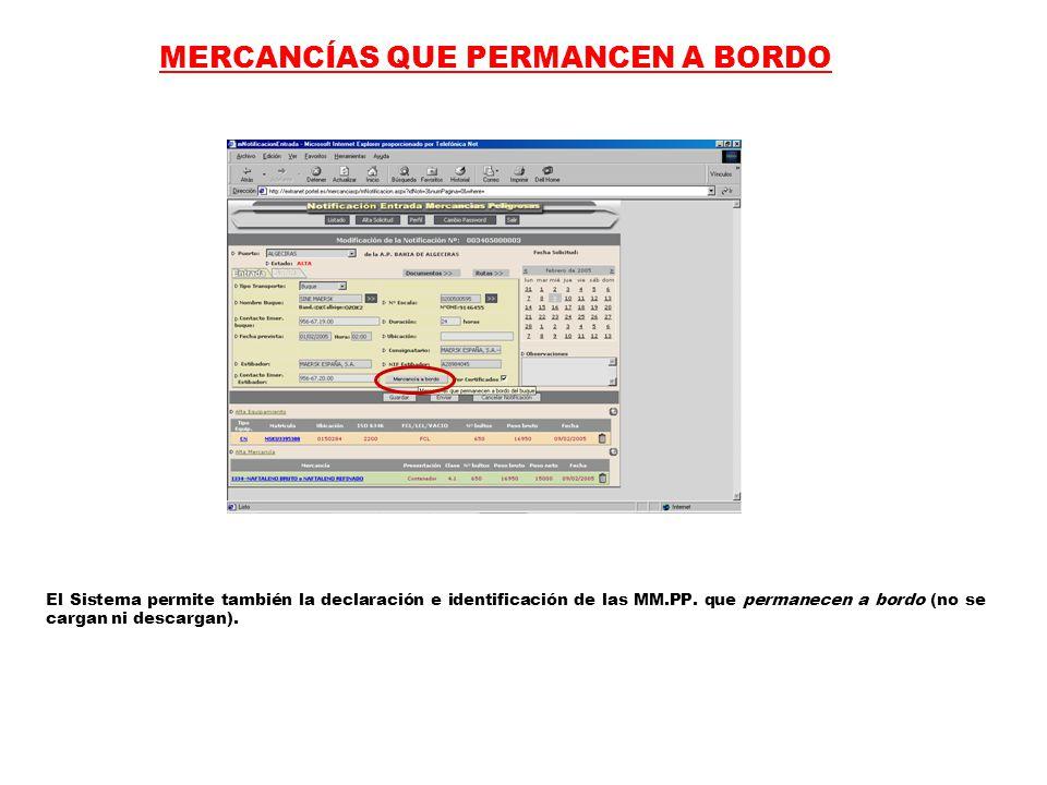 MERCANCÍAS QUE PERMANCEN A BORDO El Sistema permite también la declaración e identificación de las MM.PP.