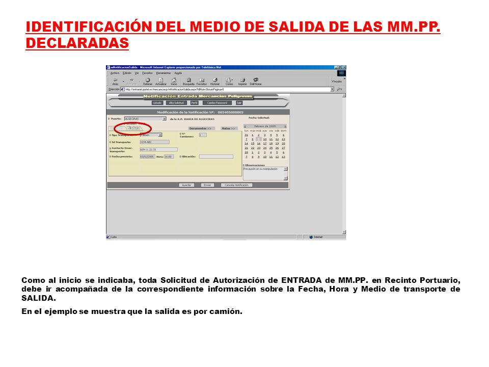IDENTIFICACIÓN DEL MEDIO DE SALIDA DE LAS MM.PP.