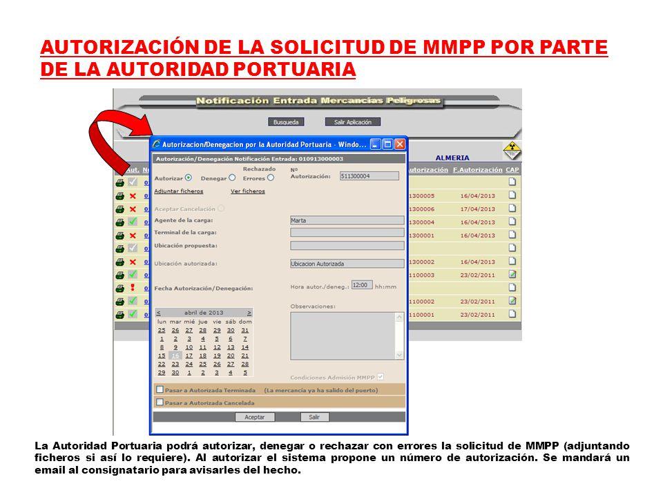 AUTORIZACIÓN DE LA SOLICITUD DE MMPP POR PARTE DE LA AUTORIDAD PORTUARIA La Autoridad Portuaria podrá autorizar, denegar o rechazar con errores la solicitud de MMPP (adjuntando ficheros si así lo requiere).