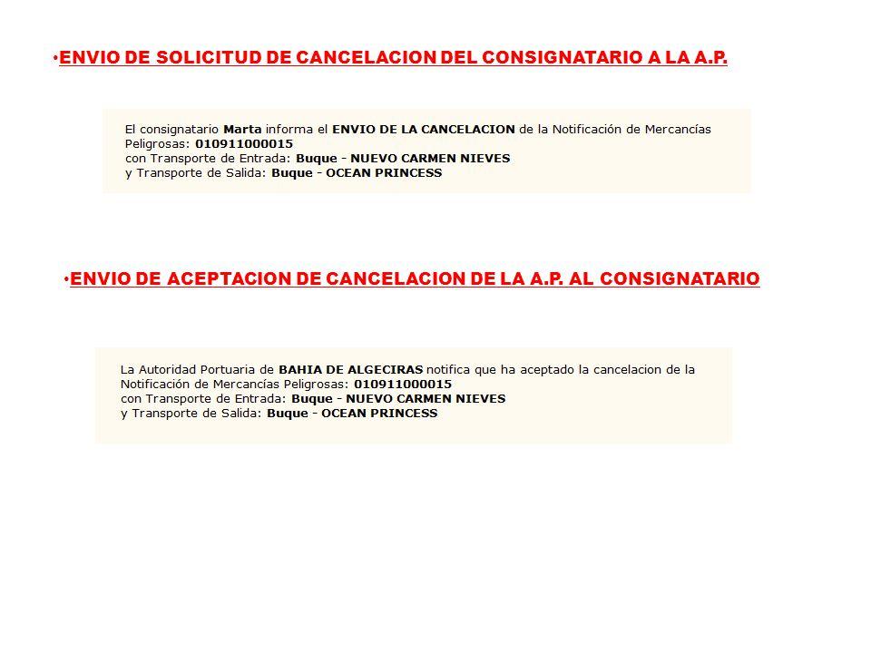 ENVIO DE SOLICITUD DE CANCELACION DEL CONSIGNATARIO A LA A.P.