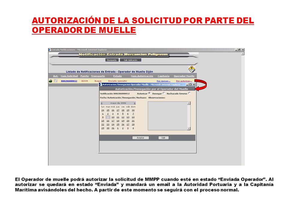 AUTORIZACIÓN DE LA SOLICITUD POR PARTE DEL OPERADOR DE MUELLE El Operador de muelle podrá autorizar la solicitud de MMPP cuando esté en estado Enviada Operador .
