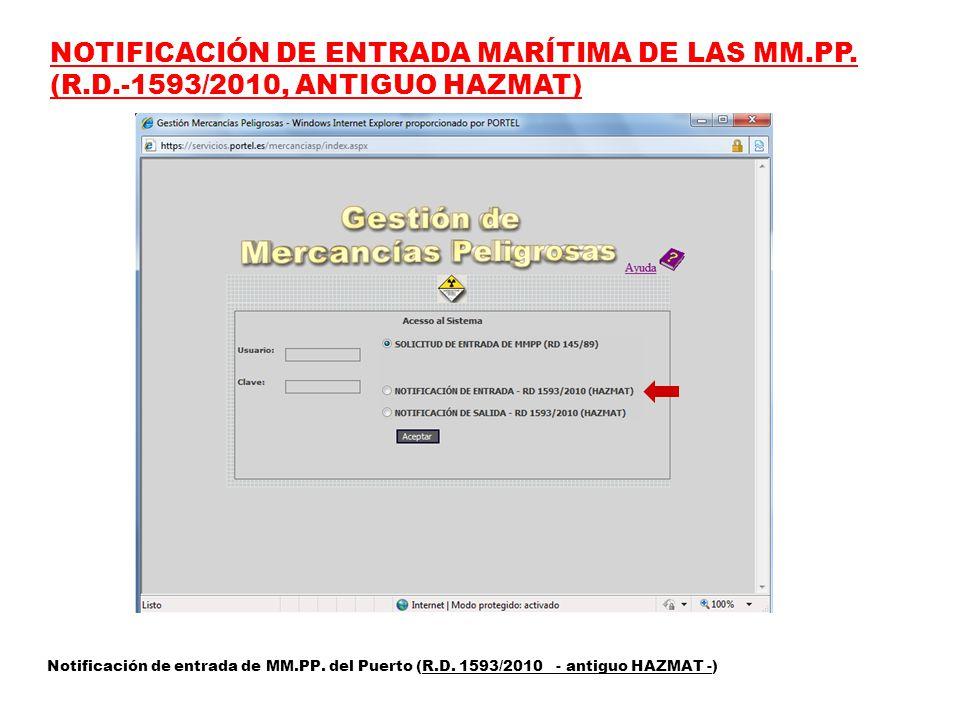 NOTIFICACIÓN DE ENTRADA MARÍTIMA DE LAS MM.PP.