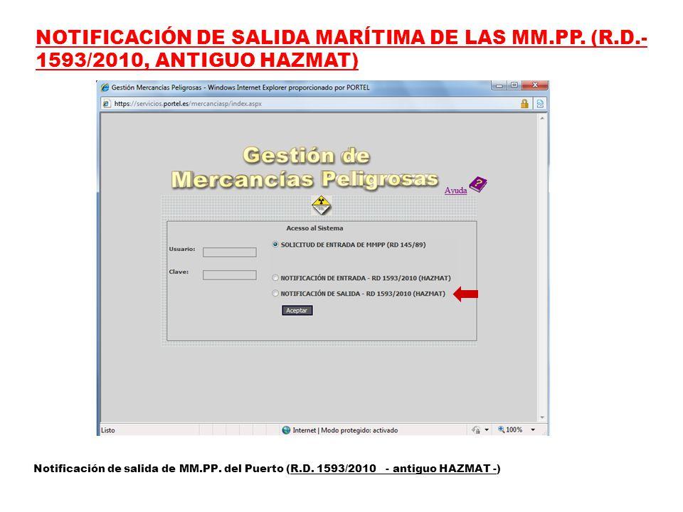 NOTIFICACIÓN DE SALIDA MARÍTIMA DE LAS MM.PP.