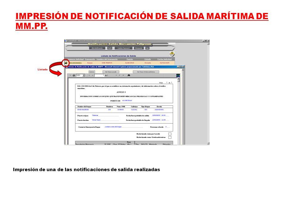 IMPRESIÓN DE NOTIFICACIÓN DE SALIDA MARÍTIMA DE MM.PP.
