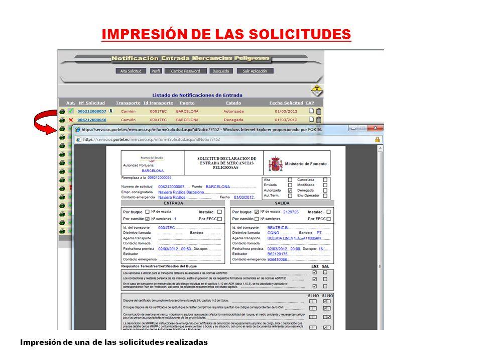 IMPRESIÓN DE LAS SOLICITUDES Impresión de una de las solicitudes realizadas