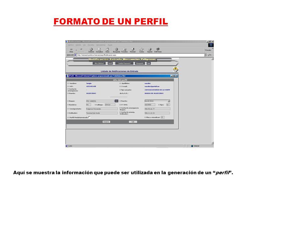 FORMATO DE UN PERFIL Aquí se muestra la información que puede ser utilizada en la generación de un perfil .