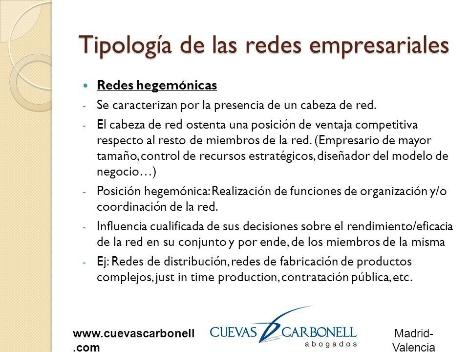 Madrid- Valencia www.cuevascarbonell.com Tipología de las redes empresariales Redes hegemónicas - Se caracterizan por la presencia de un cabeza de red.
