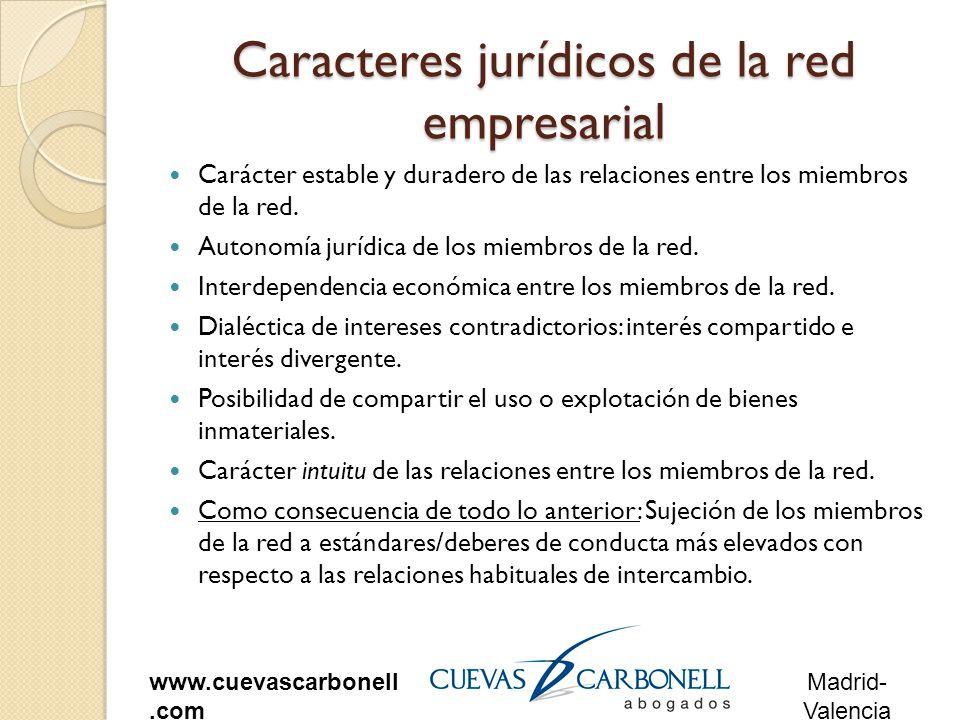 Madrid- Valencia www.cuevascarbonell.com Caracteres jurídicos de la red empresarial Carácter estable y duradero de las relaciones entre los miembros de la red.