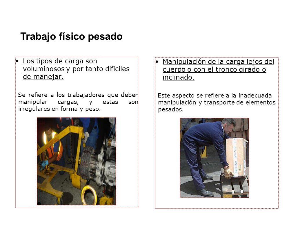 Los tipos de carga son voluminosos y por tanto difíciles de manejar. Se refiere a los trabajadores que deben manipular cargas, y estas son irregulares
