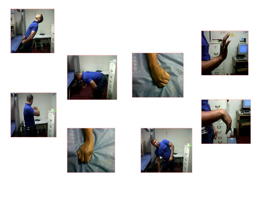 Criterios para calificar peligro ergonómico Criterios Factores asociados a postura: Posturas Mantenidas Por Tiempo Prolongado Criterios Factores asociados a fuerza: Trabajo Físico Pesado Levantamiento de Cargas y Posturas Forzadas a Nivel de Columna Fuerza con extremidad superior (hombro-codo- muñeca-mano) Criterios Factores asociados a repetitividad / frecuencia: Movimientos repetitivos de hombro Movimientos repetitivos de codo y/o antebrazo Movimientos repetitivos de dedos y mano (agarres)