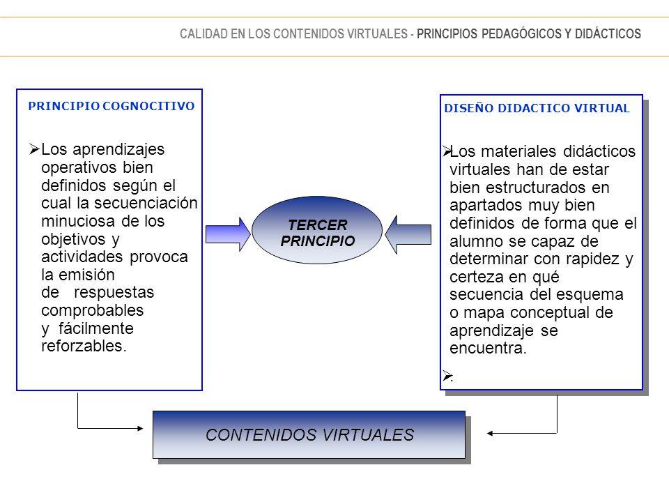 PRINCIPIO COGNOCITIVO  Los aprendizajes operativos bien definidos según el cual la secuenciación minuciosa de los objetivos y actividades provoca la emisión de respuestas comprobables y fácilmente reforzables.