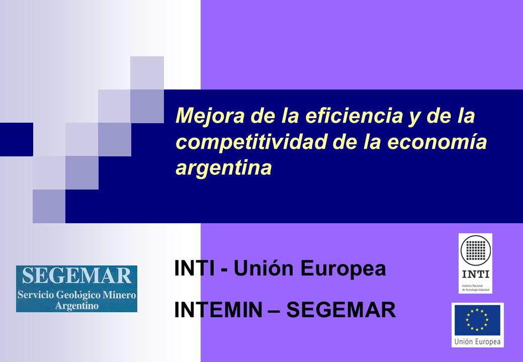 Mejora de la eficiencia y de la competitividad de la economía argentina INTI - Unión Europea INTEMIN – SEGEMAR
