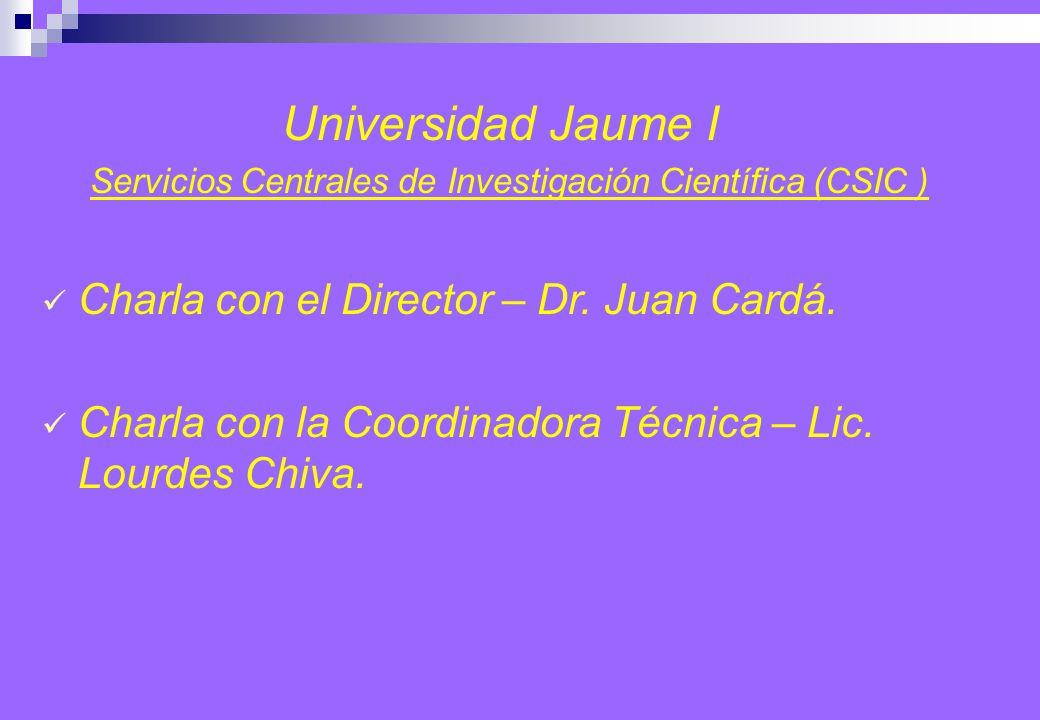 Universidad Jaume I Servicios Centrales de Investigación Científica (CSIC ) Charla con el Director – Dr.