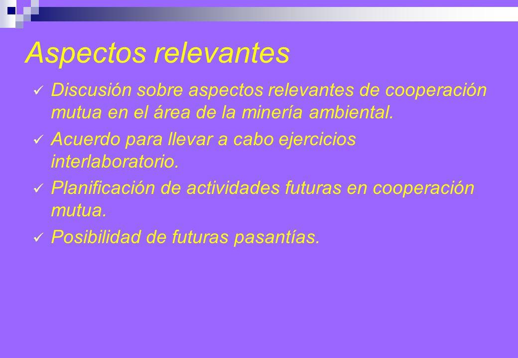 Discusión sobre aspectos relevantes de cooperación mutua en el área de la minería ambiental.