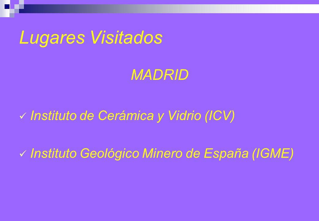 Lugares Visitados MADRID Instituto de Cerámica y Vidrio (ICV) Instituto Geológico Minero de España (IGME)