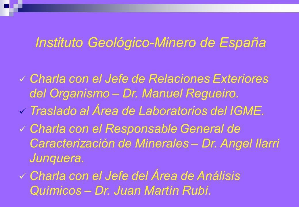 Instituto Geológico-Minero de España Charla con el Jefe de Relaciones Exteriores del Organismo – Dr.