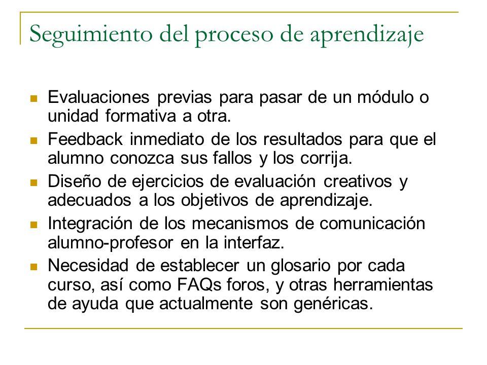 Seguimiento del proceso de aprendizaje Evaluaciones previas para pasar de un módulo o unidad formativa a otra.