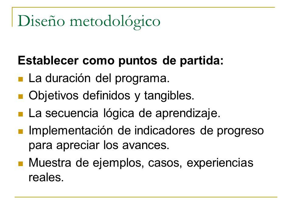 Diseño metodológico Establecer como puntos de partida: La duración del programa.