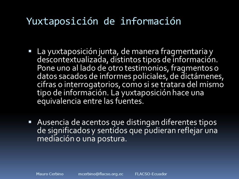 Yuxtaposición de información  La yuxtaposición junta, de manera fragmentaria y descontextualizada, distintos tipos de información.