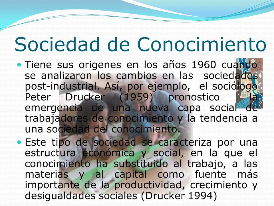Sociedad de Conocimiento Tiene sus origenes en los años 1960 cuando se analizaron los cambios en las sociedades post-industrial.