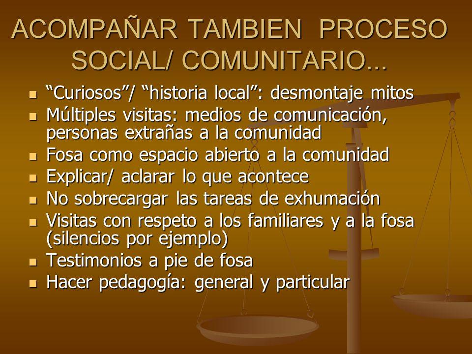 ACOMPAÑAR TAMBIEN PROCESO SOCIAL/ COMUNITARIO...