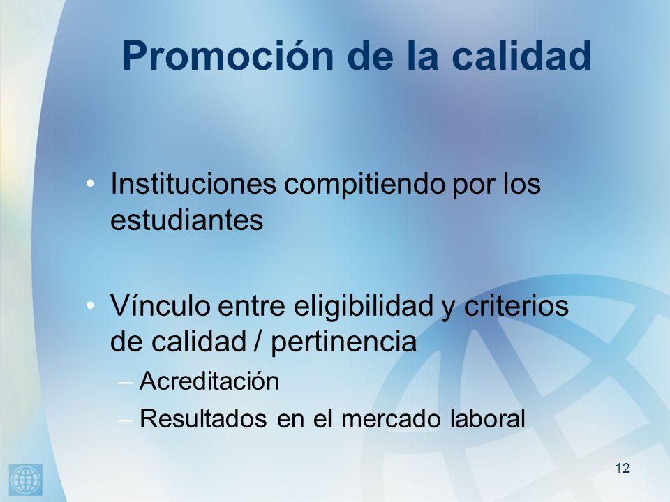 12 Promoción de la calidad Instituciones compitiendo por los estudiantes Vínculo entre eligibilidad y criterios de calidad / pertinencia –Acreditación –Resultados en el mercado laboral