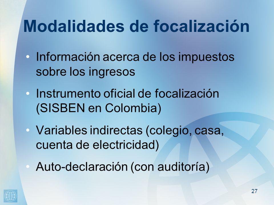 27 Modalidades de focalización Información acerca de los impuestos sobre los ingresos Instrumento oficial de focalización (SISBEN en Colombia) Variables indirectas (colegio, casa, cuenta de electricidad) Auto-declaración (con auditoría)