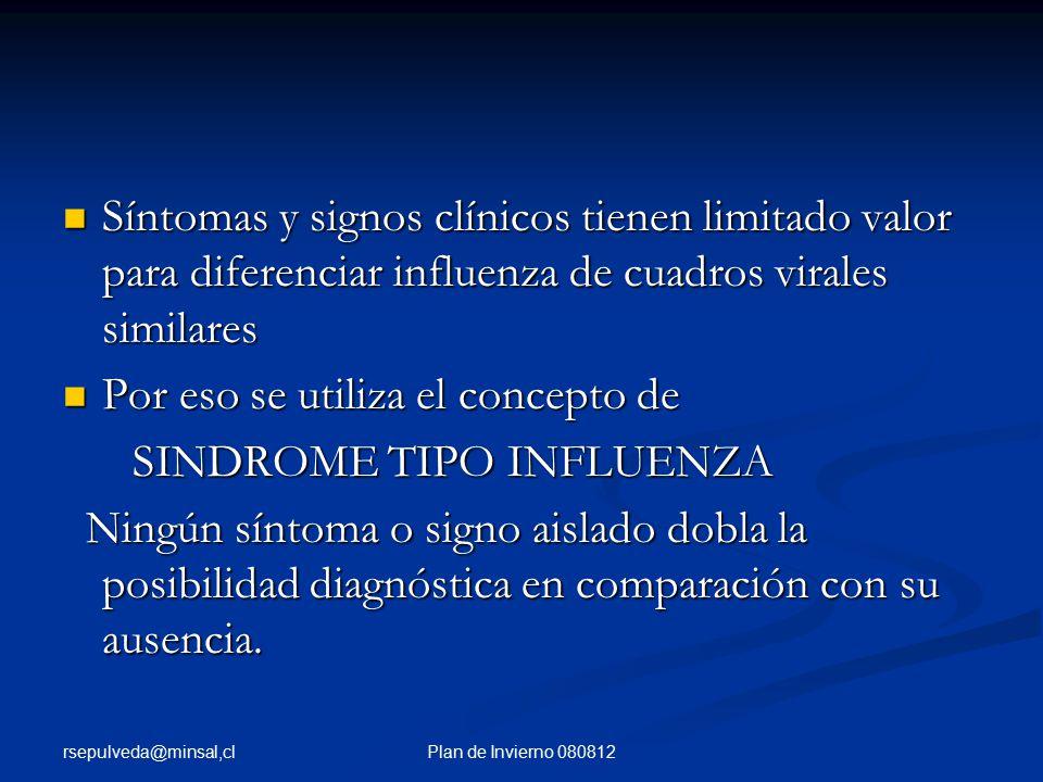 rsepulveda@minsal,cl Plan de Invierno 080812 Síntomas y signos clínicos tienen limitado valor para diferenciar influenza de cuadros virales similares Síntomas y signos clínicos tienen limitado valor para diferenciar influenza de cuadros virales similares Por eso se utiliza el concepto de Por eso se utiliza el concepto de SINDROME TIPO INFLUENZA SINDROME TIPO INFLUENZA Ningún síntoma o signo aislado dobla la posibilidad diagnóstica en comparación con su ausencia.