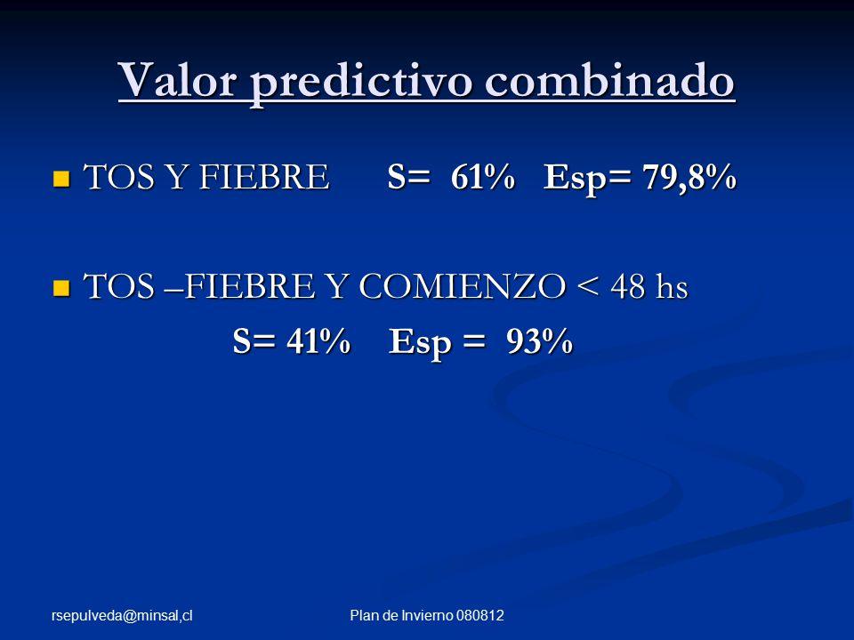 rsepulveda@minsal,cl Plan de Invierno 080812 Valor predictivo combinado TOS Y FIEBRE S= 61% Esp= 79,8% TOS Y FIEBRE S= 61% Esp= 79,8% TOS –FIEBRE Y COMIENZO < 48 hs TOS –FIEBRE Y COMIENZO < 48 hs S= 41% Esp = 93% S= 41% Esp = 93%