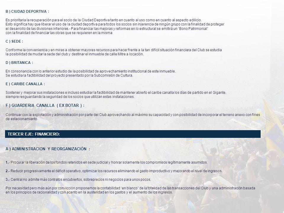 B ) CIUDAD DEPORTIVA : Es prioritaria la recuperación para el socio de la Ciudad Deportiva tanto en cuanto al uso como en cuanto al aspecto edilicio.
