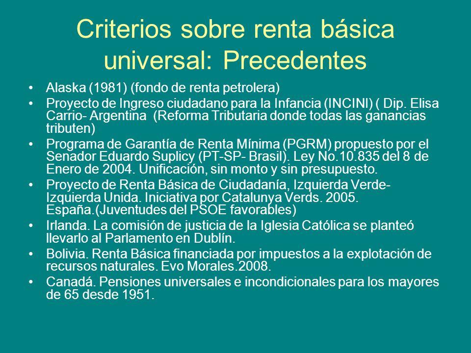 Criterios sobre renta básica universal: Precedentes Alaska (1981) (fondo de renta petrolera) Proyecto de Ingreso ciudadano para la Infancia (INCINI) ( Dip.