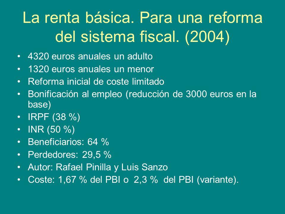 La renta básica. Para una reforma del sistema fiscal.