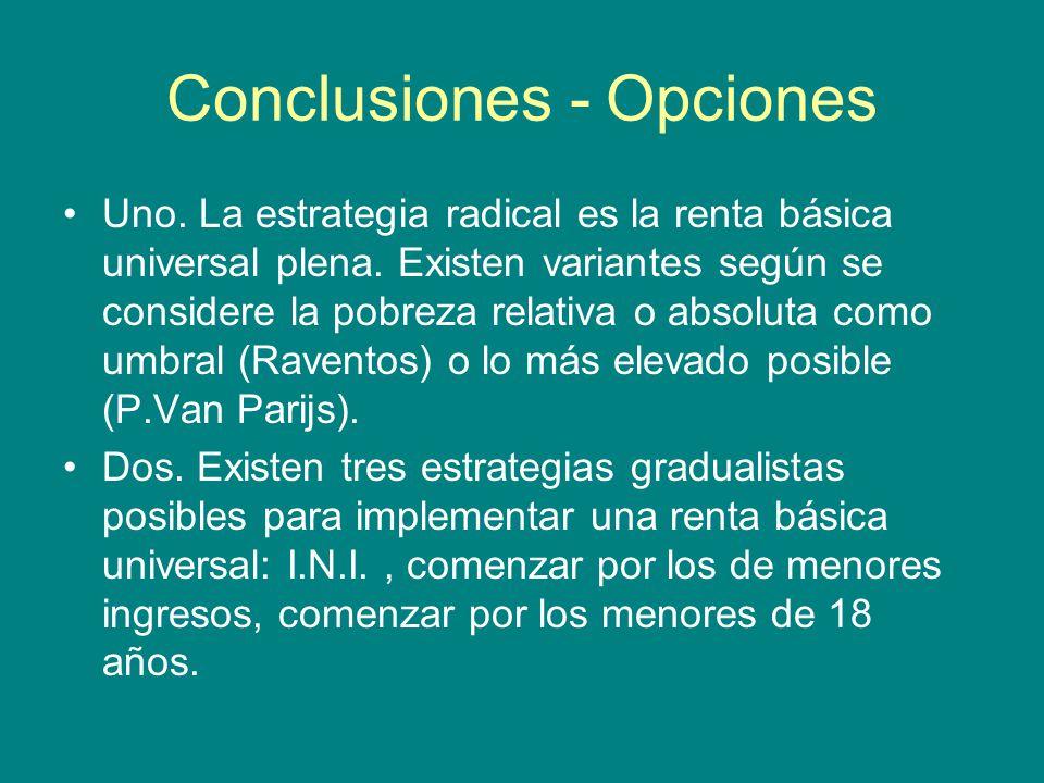 Conclusiones - Opciones Uno. La estrategia radical es la renta básica universal plena.