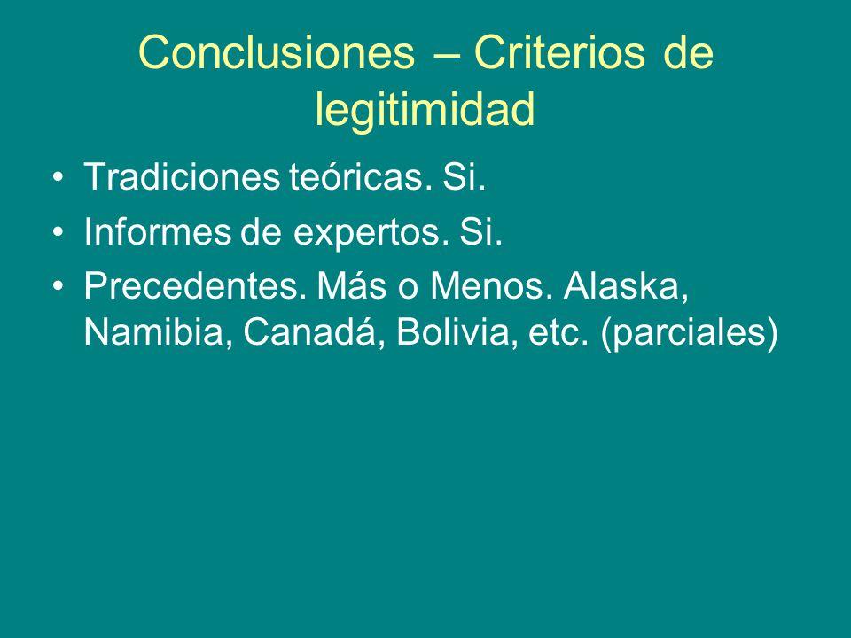 Conclusiones – Criterios de legitimidad Tradiciones teóricas.