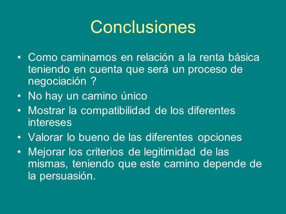 Conclusiones Como caminamos en relación a la renta básica teniendo en cuenta que será un proceso de negociación .