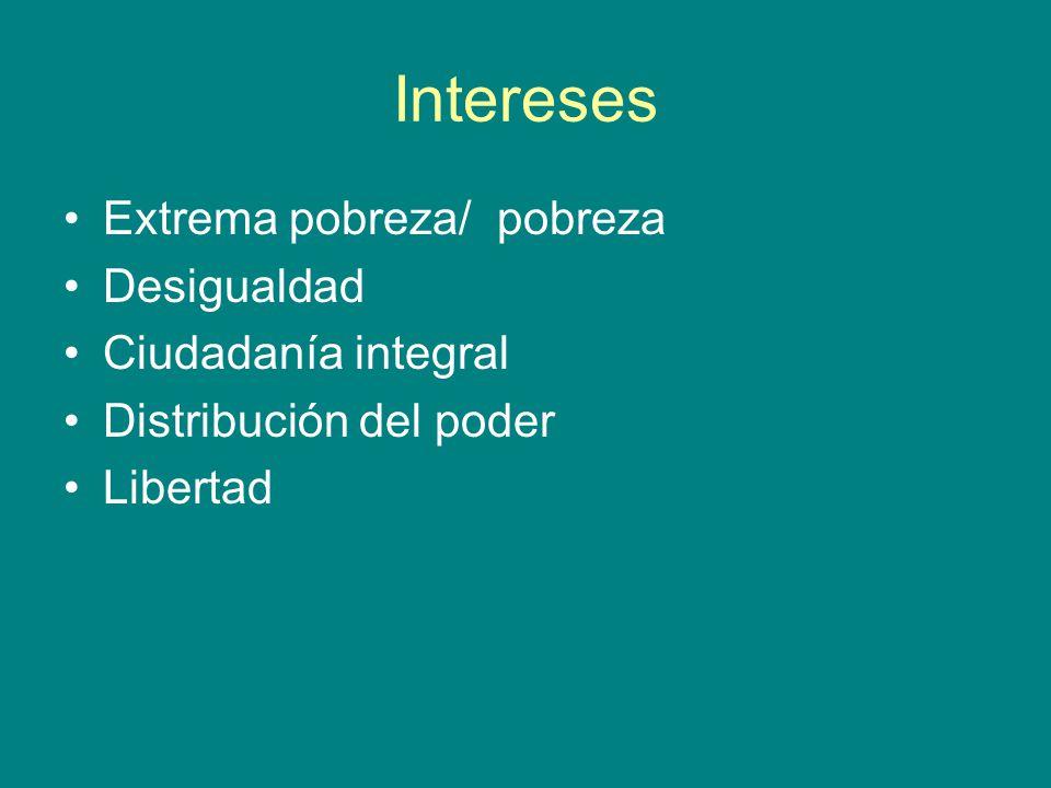 Intereses Extrema pobreza/ pobreza Desigualdad Ciudadanía integral Distribución del poder Libertad