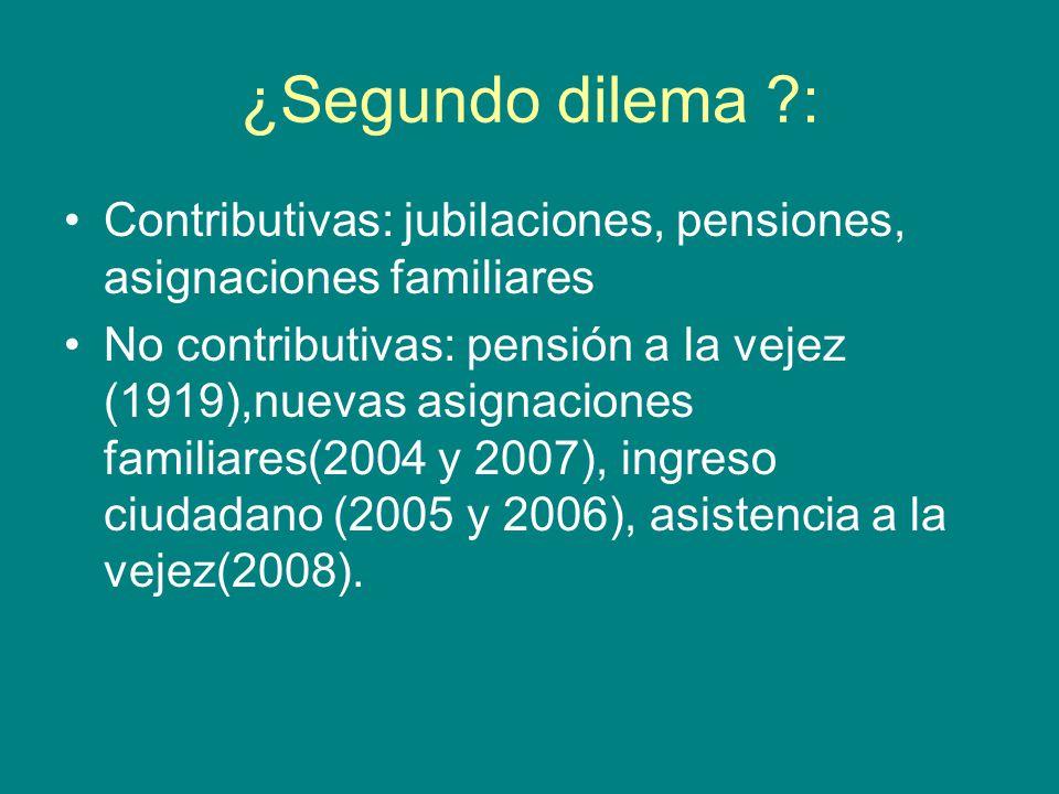 ¿Segundo dilema : Contributivas: jubilaciones, pensiones, asignaciones familiares No contributivas: pensión a la vejez (1919),nuevas asignaciones familiares(2004 y 2007), ingreso ciudadano (2005 y 2006), asistencia a la vejez(2008).