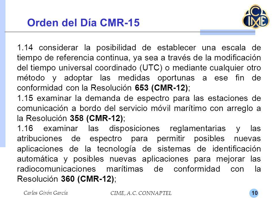 10 Orden del Día CMR-15 Carlos Girón García CIME, A.C.