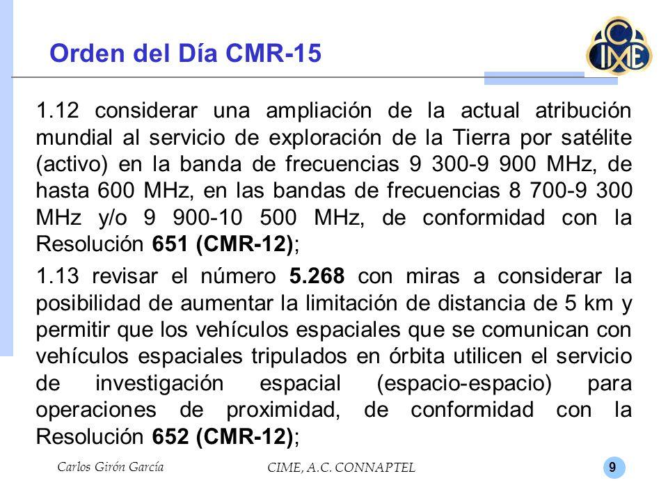 9 Orden del Día CMR-15 1.12 considerar una ampliación de la actual atribución mundial al servicio de exploración de la Tierra por satélite (activo) en la banda de frecuencias 9 300-9 900 MHz, de hasta 600 MHz, en las bandas de frecuencias 8 700-9 300 MHz y/o 9 900-10 500 MHz, de conformidad con la Resolución 651 (CMR-12); 1.13 revisar el número 5.268 con miras a considerar la posibilidad de aumentar la limitación de distancia de 5 km y permitir que los vehículos espaciales que se comunican con vehículos espaciales tripulados en órbita utilicen el servicio de investigación espacial (espacio-espacio) para operaciones de proximidad, de conformidad con la Resolución 652 (CMR-12); Carlos Girón García CIME, A.C.