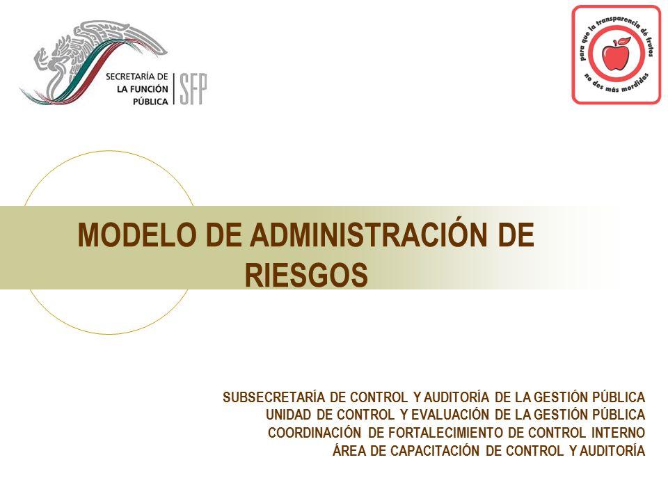 SUBSECRETARÍA DE CONTROL Y AUDITORÍA DE LA GESTIÓN PÚBLICA UNIDAD DE CONTROL Y EVALUACIÓN DE LA GESTIÓN PÚBLICA COORDINACIÓN DE FORTALECIMIENTO DE CONTROL INTERNO ÁREA DE CAPACITACIÓN DE CONTROL Y AUDITORÍA MODELO DE ADMINISTRACIÓN DE RIESGOS