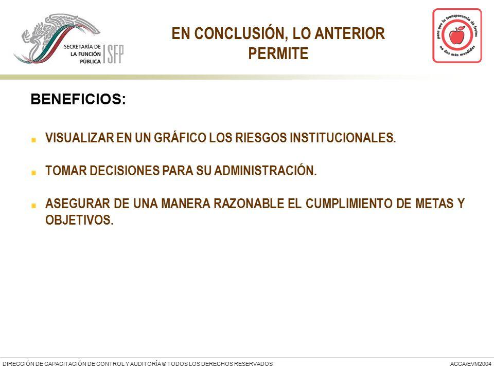 DIRECCIÓN DE CAPACITACIÓN DE CONTROL Y AUDITORÍA ® TODOS LOS DERECHOS RESERVADOSACCA/EVM2004 EN CONCLUSIÓN, LO ANTERIOR PERMITE VISUALIZAR EN UN GRÁFICO LOS RIESGOS INSTITUCIONALES.