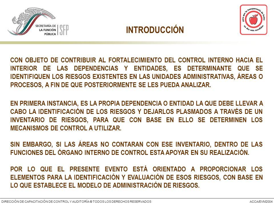 DIRECCIÓN DE CAPACITACIÓN DE CONTROL Y AUDITORÍA ® TODOS LOS DERECHOS RESERVADOSACCA/EVM2004 INTRODUCCIÓN CON OBJETO DE CONTRIBUIR AL FORTALECIMIENTO DEL CONTROL INTERNO HACIA EL INTERIOR DE LAS DEPENDENCIAS Y ENTIDADES, ES DETERMINANTE QUE SE IDENTIFIQUEN LOS RIESGOS EXISTENTES EN LAS UNIDADES ADMINISTRATIVAS, ÁREAS O PROCESOS, A FIN DE QUE POSTERIORMENTE SE LES PUEDA ANALIZAR.