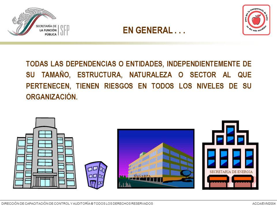 DIRECCIÓN DE CAPACITACIÓN DE CONTROL Y AUDITORÍA ® TODOS LOS DERECHOS RESERVADOSACCA/EVM2004 TODAS LAS DEPENDENCIAS O ENTIDADES, INDEPENDIENTEMENTE DE SU TAMAÑO, ESTRUCTURA, NATURALEZA O SECTOR AL QUE PERTENECEN, TIENEN RIESGOS EN TODOS LOS NIVELES DE SU ORGANIZACIÓN.