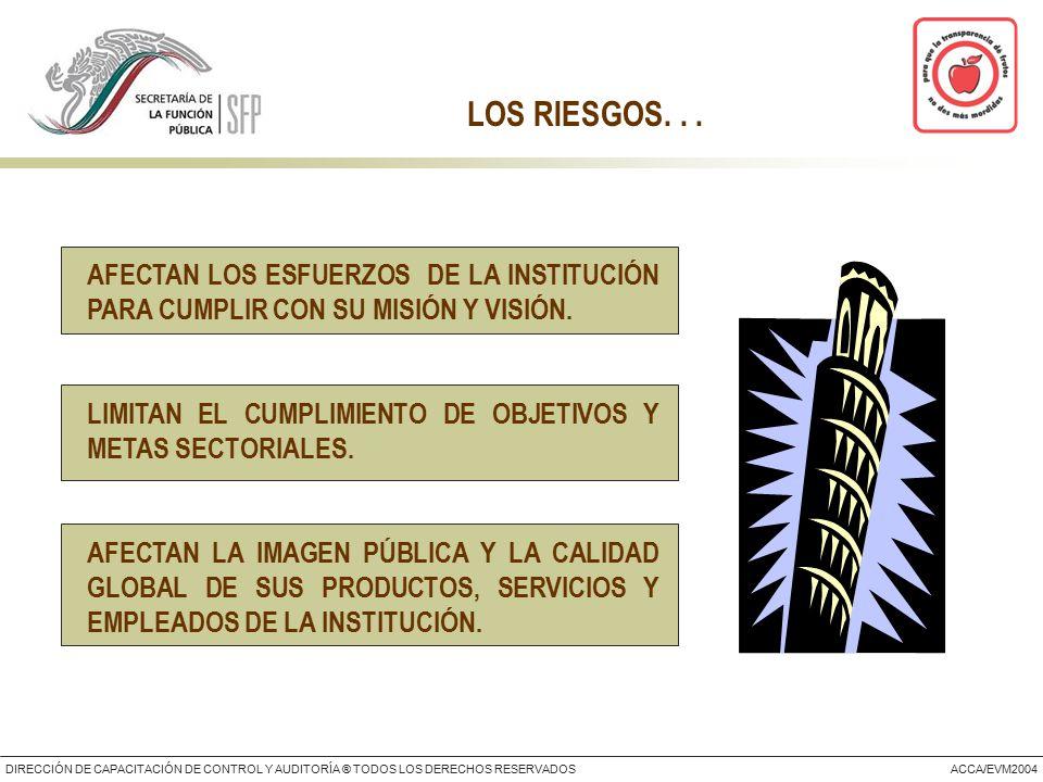 DIRECCIÓN DE CAPACITACIÓN DE CONTROL Y AUDITORÍA ® TODOS LOS DERECHOS RESERVADOSACCA/EVM2004 LOS RIESGOS...