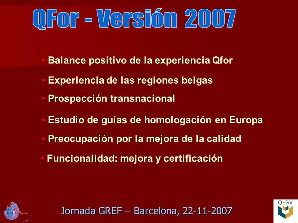 Jornada GREF – Barcelona, 22-11-2007 Preocupación por la mejora de la calidad Balance positivo de la experiencia Qfor Experiencia de las regiones belgas Estudio de guías de homologación en Europa Prospección transnacional Funcionalidad: mejora y certificación