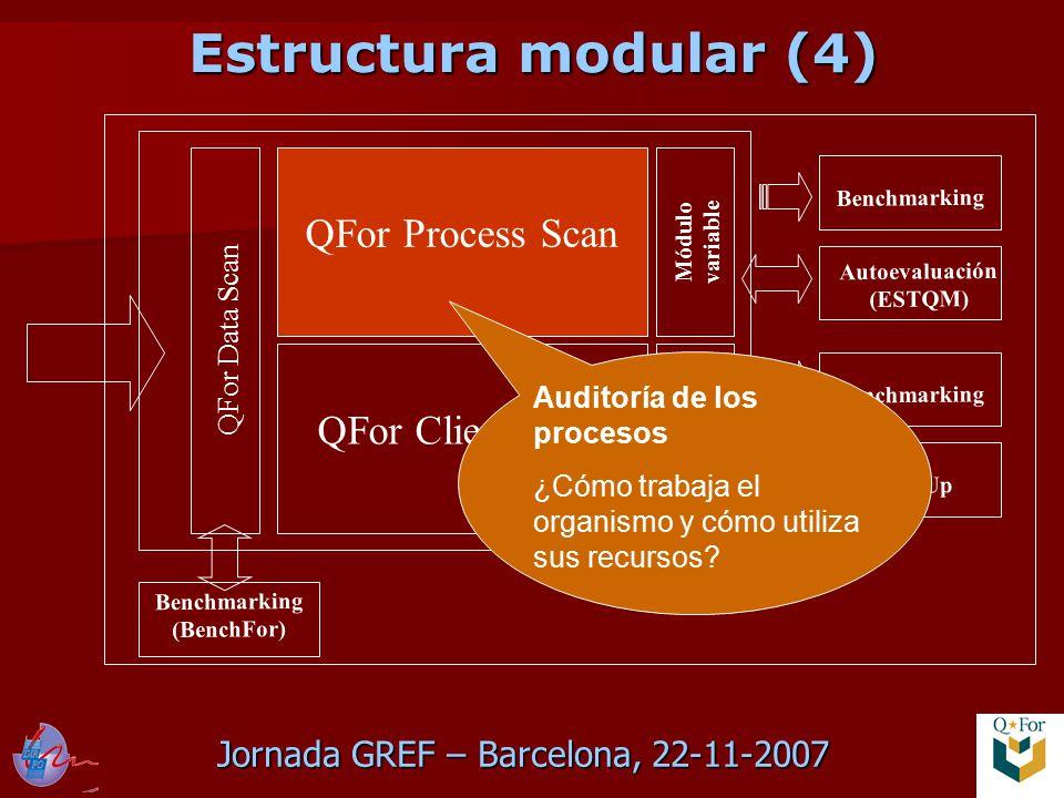 Jornada GREF – Barcelona, 22-11-2007 QFor Data Scan QFor Process Scan QFor Client Scan Módulo variable Module variable Benchmarking TrainUp Benchmarking Autoevaluación (ESTQM) Benchmarking (BenchFor) Auditoría de los procesos ¿Cómo trabaja el organismo y cómo utiliza sus recursos.