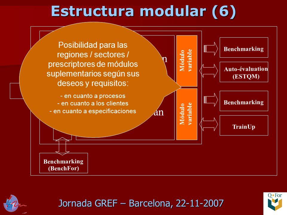Jornada GREF – Barcelona, 22-11-2007 QFor Data Scan QFor Process Scan QFor Client Scan Módulo variable Benchmarking TrainUp Benchmarking Auto-évaluation (ESTQM) Benchmarking (BenchFor) Posibilidad para las regiones / sectores / prescriptores de módulos suplementarios según sus deseos y requisitos: - en cuanto a procesos - en cuanto a los clientes - en cuanto a especificaciones Estructura modular (6)