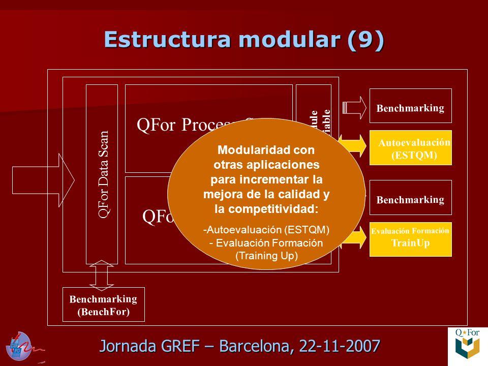 Jornada GREF – Barcelona, 22-11-2007 Estructura modular (9) QFor Data Scan QFor Process Scan QFor Client Scan Module variable Benchmarking Evaluación Formación TrainUp Benchmarking Autoevaluación (ESTQM) Benchmarking (BenchFor) Modularidad con otras aplicaciones para incrementar la mejora de la calidad y la competitividad: -Autoevaluación (ESTQM) - Evaluación Formación (Training Up)