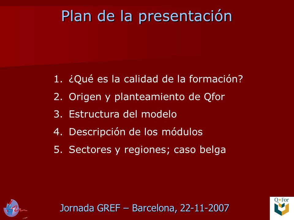 Jornada GREF – Barcelona, 22-11-2007 Plan de la presentación Plan de la presentación 1.¿Qué es la calidad de la formación.